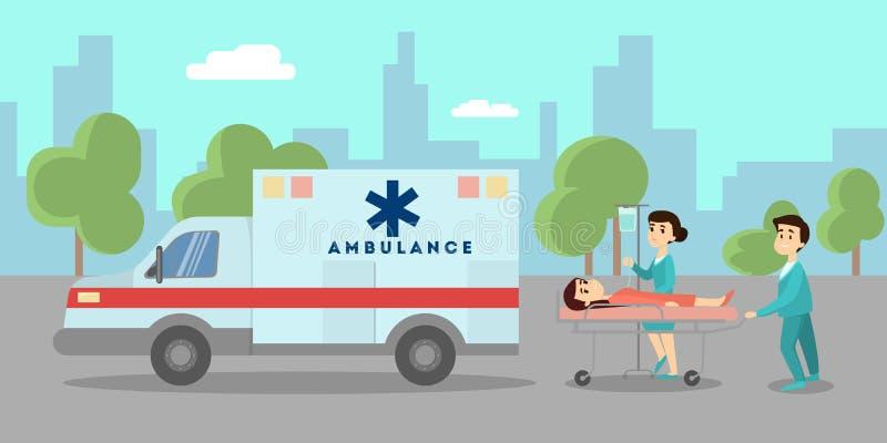 Coche de la ambulancia en la calle ilustración del vector