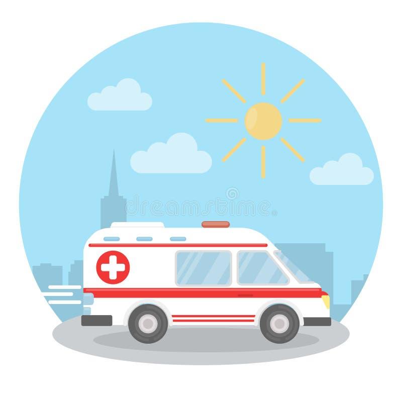 Coche de la ambulancia en la ciudad stock de ilustración