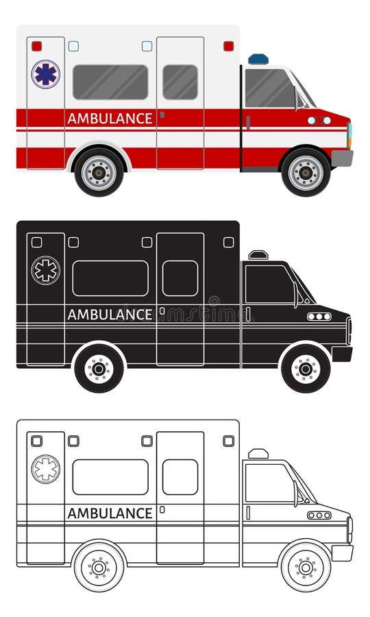 Coche de la ambulancia en tres diversos estilos: color, silueta negra, contorno Vehículo del servicio médico de la emergencia libre illustration