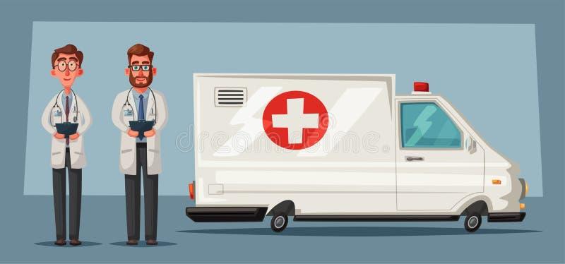 Coche de la ambulancia Ilustración del vector de la historieta libre illustration