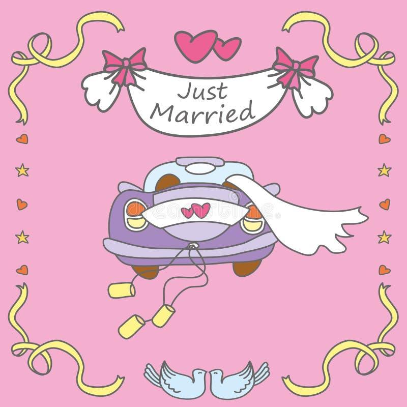 Coche de la boda, apenas casado stock de ilustración