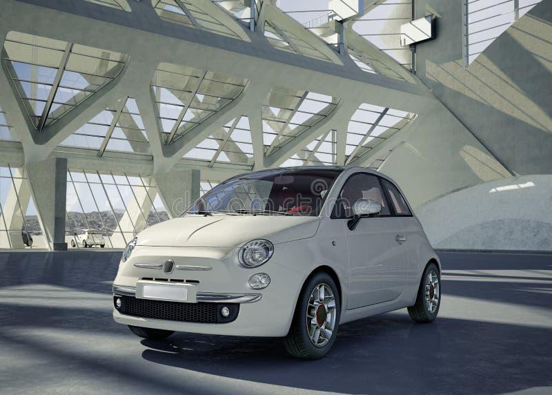 Coche de la ciudad de Fiat 500 en el medio del ambiente del edificio. fotos de archivo libres de regalías