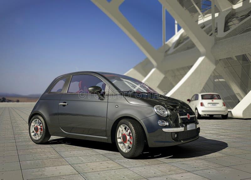 Coche de la ciudad de Fiat 500, fuera del ambiente moderno del edificio industrial. fotos de archivo