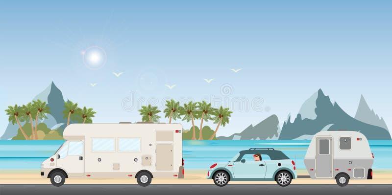 Coche de la conducción de automóviles de la caravana en el camino en la playa stock de ilustración