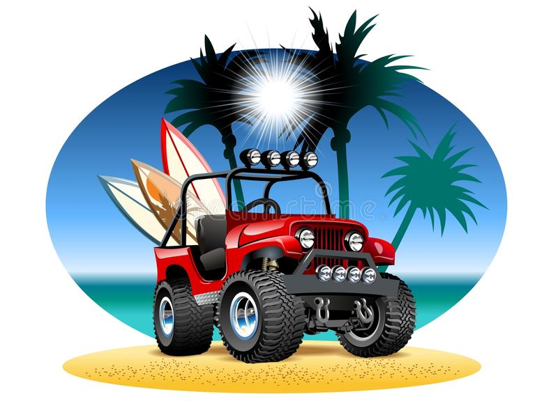 Coche de la historieta 4x4 del vector en la playa libre illustration