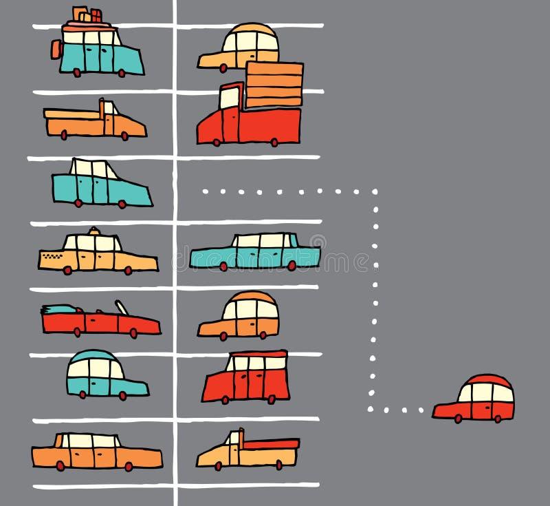 Aparcamiento de la historieta del vector stock de ilustración