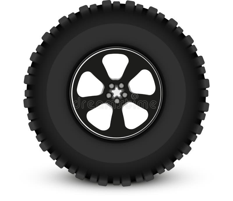 Coche de la rueda stock de ilustración