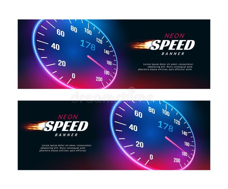 Coche de la velocidad de la bandera Diseño rápido del cartel o del aviador de la acción del velocímetro stock de ilustración