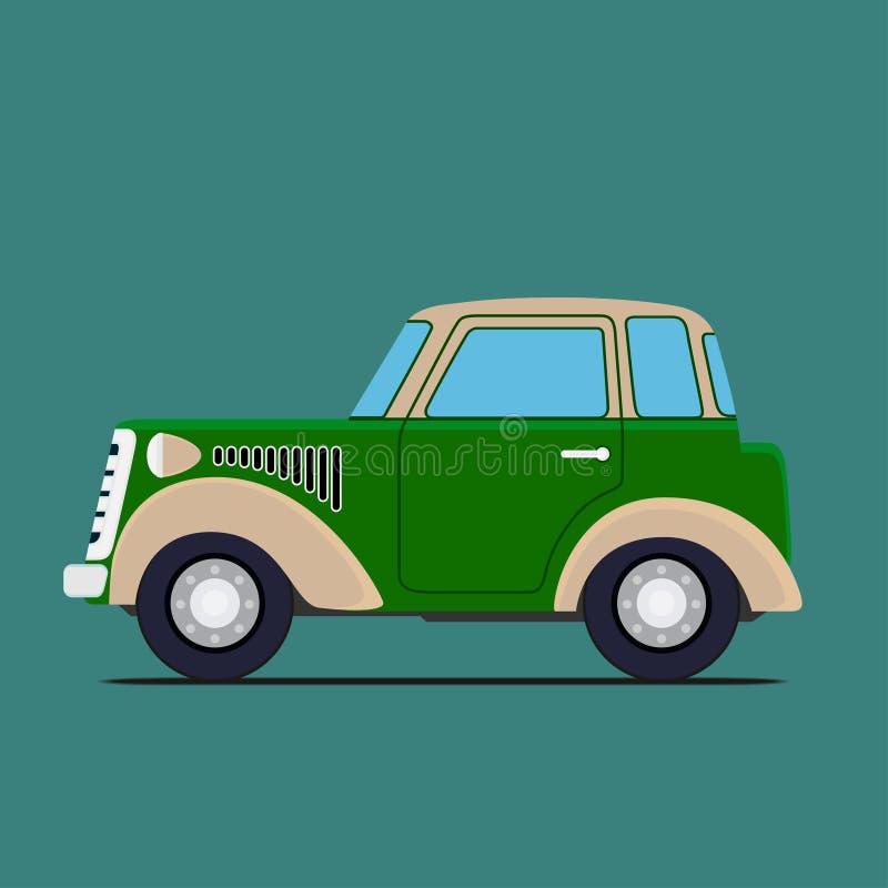 Coche de la vendimia Aislado en verde libre illustration