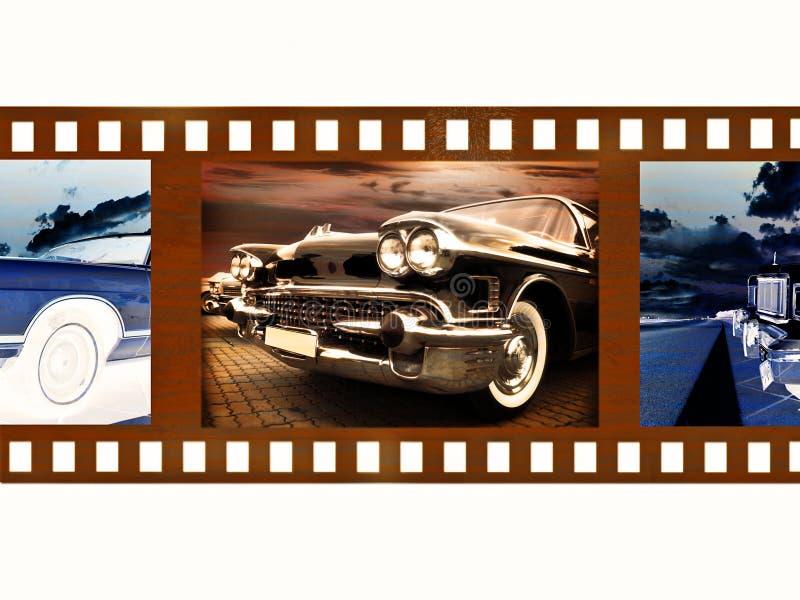 coche de la vendimia en el fragmento de la película de color de 35m m ilustración del vector