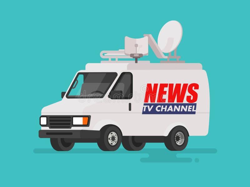 Coche de las noticias de la TV con el equipo en el tejado Van en fondo aislado Ilustración del vector ilustración del vector