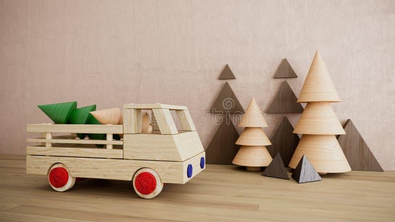 Coche de madera del juguete con la foto del fondo del día de fiesta de la Navidad de los árboles de pino fotos de archivo libres de regalías