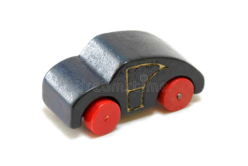 Coche de madera miniatura de la vendimia imagen de archivo