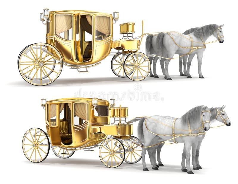 Coche de oro con una puerta abierta, aprovechada con un par de caballos blancos ilustración del vector