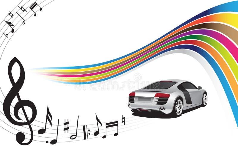 Coche de plata y música stock de ilustración