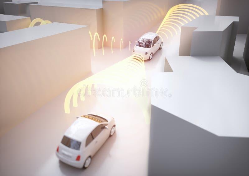 Coche de Selfdriving en la acción - representación 3D foto de archivo