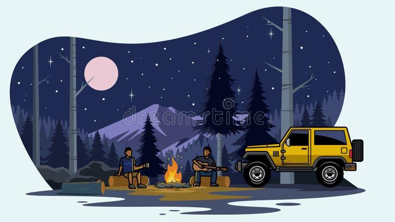 Coche de Suv que acampa en el bosque ilustración del vector