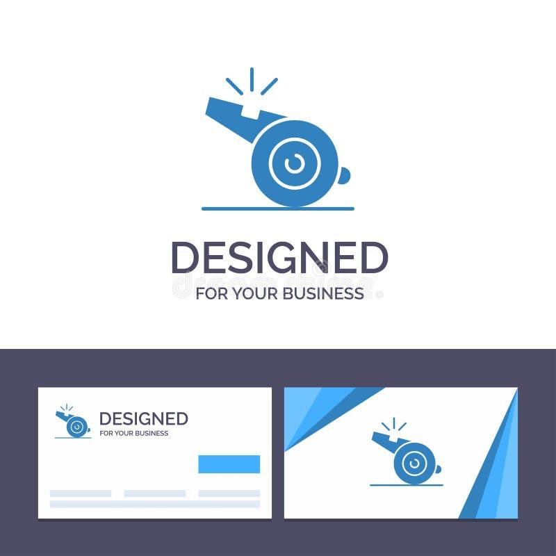 Coche de visita de la plantilla creativa de la tarjeta y del logotipo, árbitro, deporte, ejemplo del vector del silbido stock de ilustración