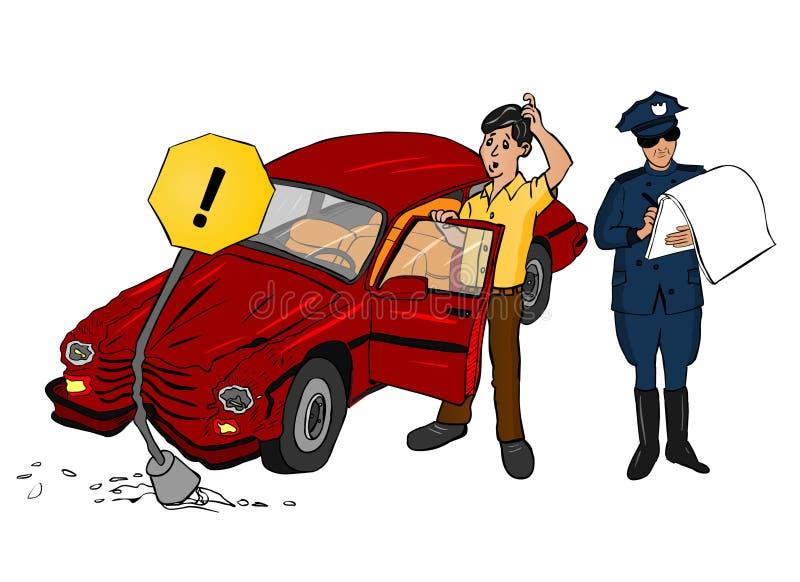 Coche del accidente con policía ilustración del vector