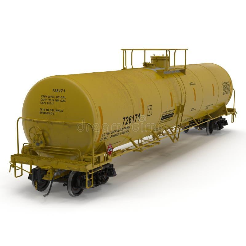 Coche del amarillo del tren del tanque en blanco ilustración 3D libre illustration