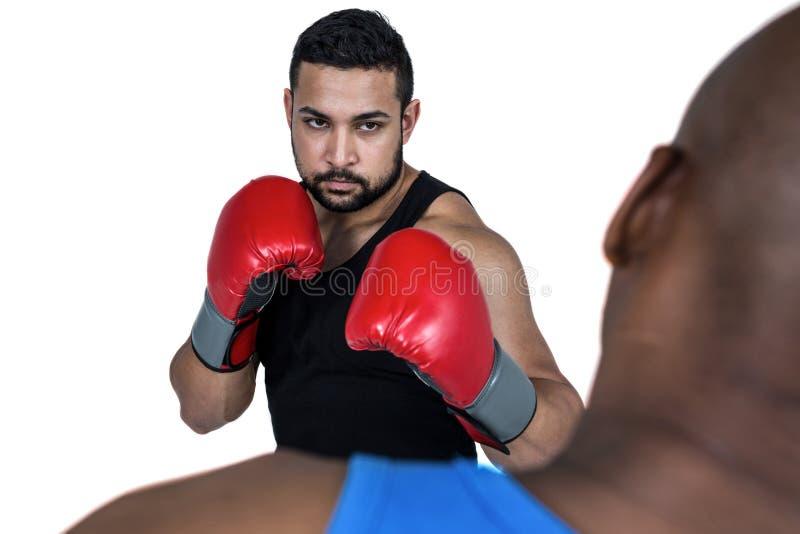 Coche del boxeo con su combatiente fotografía de archivo