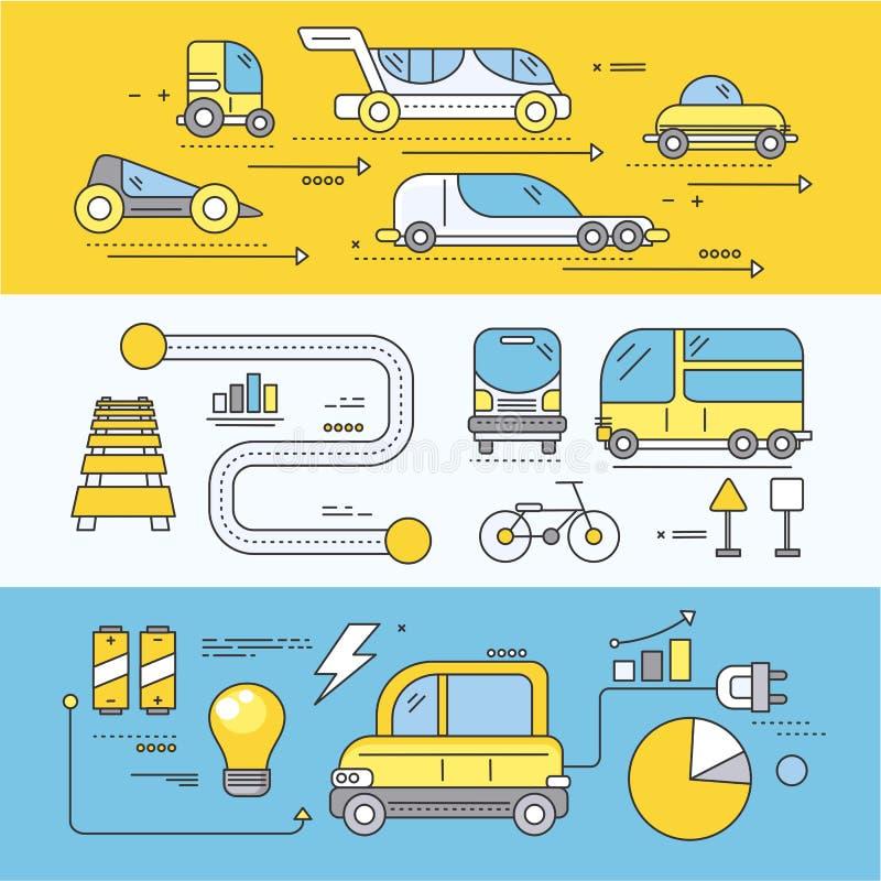 Coche del concepto del transporte por carretera futuro ilustración del vector