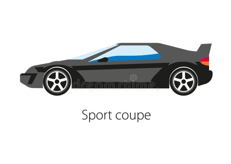 Coche del cupé del deporte aislado en blanco Automóvil detallado moderno ilustración del vector