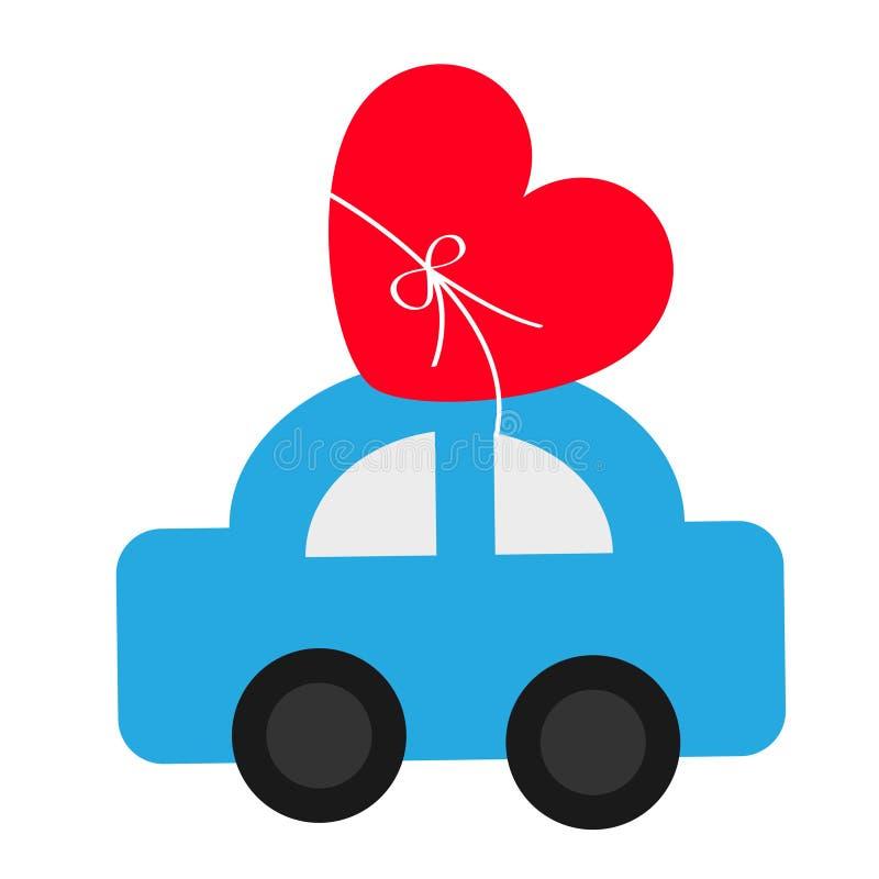 Coche del juguete que lleva el icono rojo de la forma del corazón del amor con el arco Símbolo feliz de la muestra del día de tar stock de ilustración