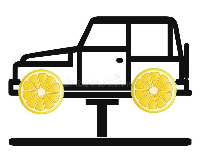 Coche del limón stock de ilustración