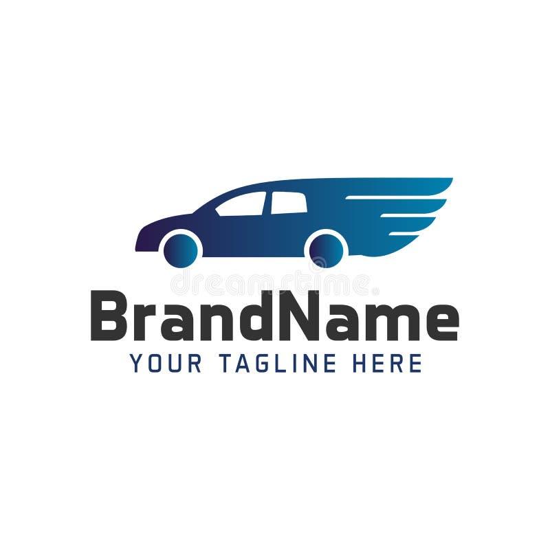 Coche del logotipo con las alas Plantilla del logotipo del automóvil ilustración del vector