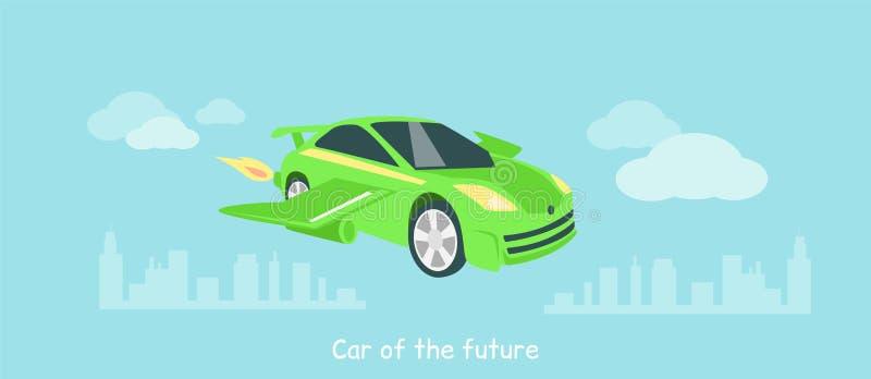 Coche del plano futuro del icono aislado ilustración del vector
