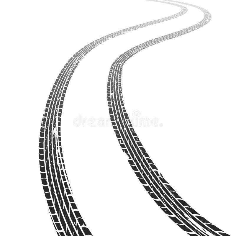 Coche del rastro del neumático Las pistas sucias del neumático del grunge del camino compiten con la marca de goma de la textura  ilustración del vector