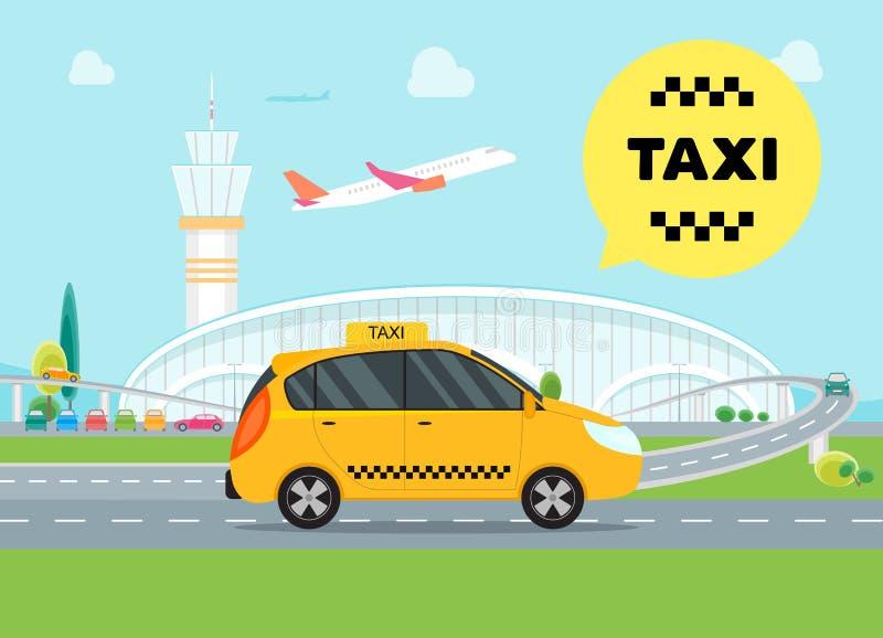 Coche del servicio del taxi del aeropuerto de la historieta Vector stock de ilustración