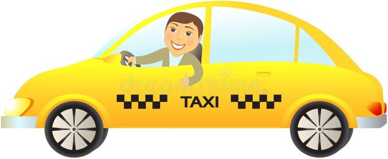 Coche del taxi con el pulgar del programa piloto para arriba libre illustration