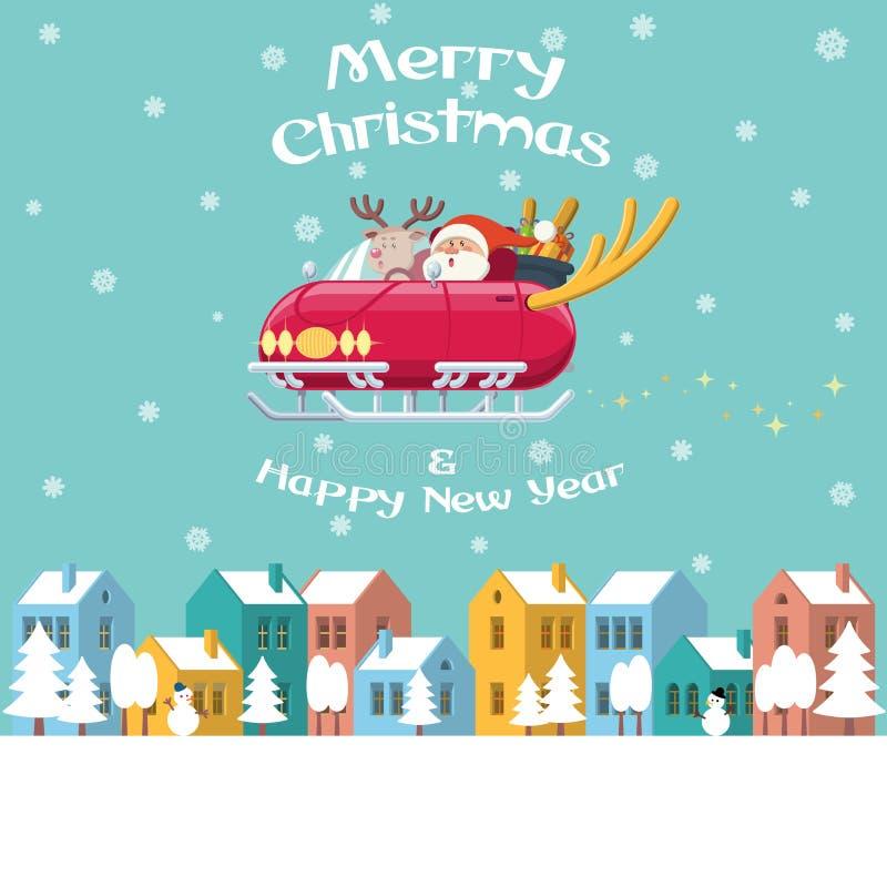 Coche del trineo del vuelo de Papá Noel sobre ciudad del invierno ilustración del vector