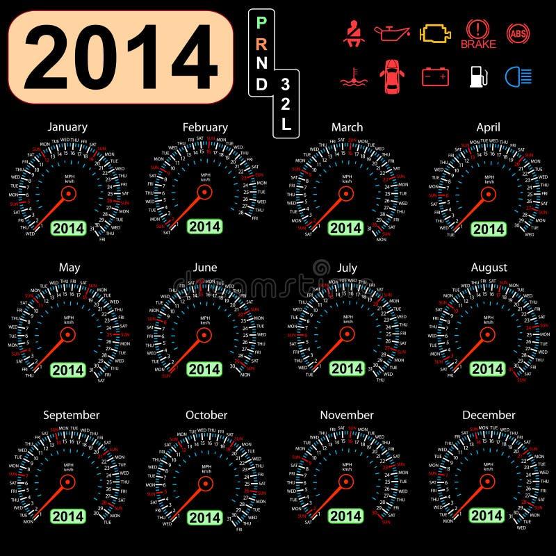 coche del velocímetro del calendario de 2014 años ilustración del vector