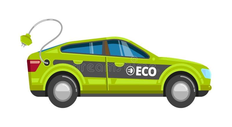 Coche del verde de Eco Vehículo eléctrico con la historieta alternativa del transporte del eco del vector de la energía del poder ilustración del vector