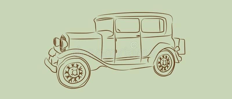 Coche del vintage con el bosquejo o la línea diseño del arte Ilustración drenada mano del vector ilustración del vector