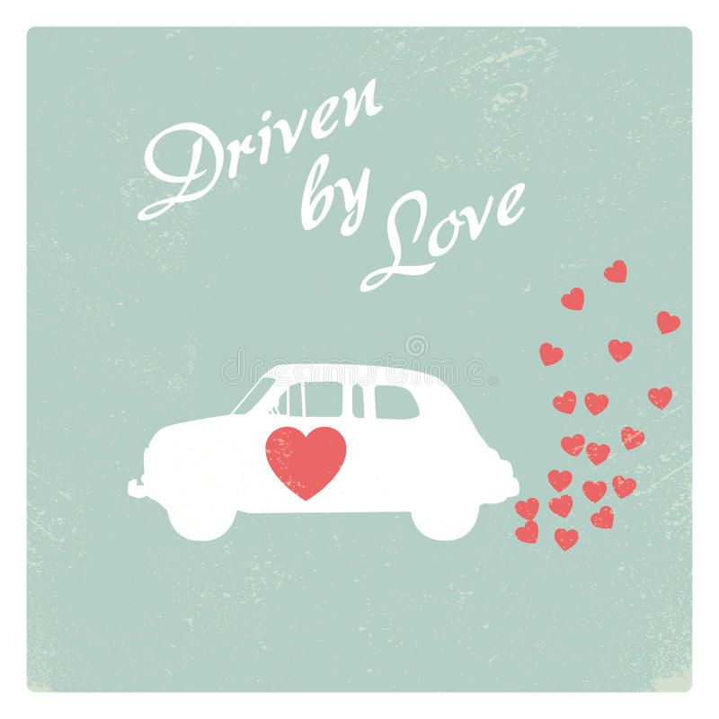 Coche del vintage conducido por el diseño romántico de la postal del amor para la tarjeta de la tarjeta del día de San Valentín libre illustration