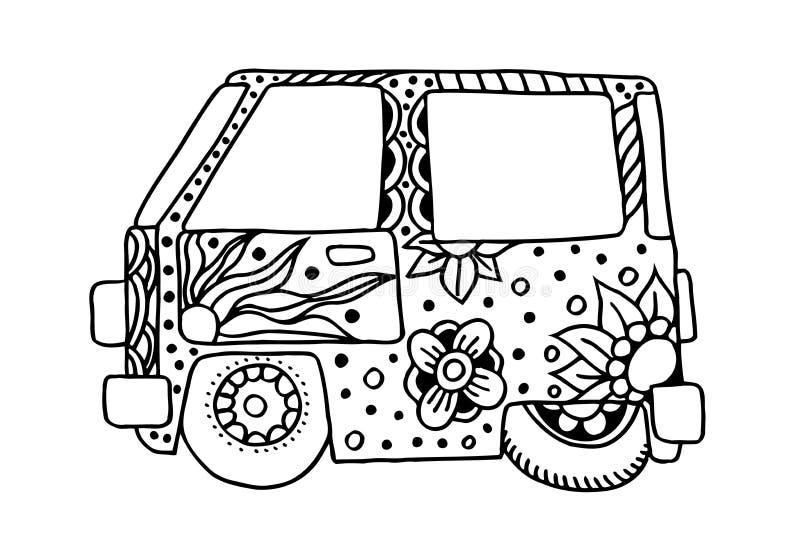 Coche del vintage del hippie una mini furgoneta ilustración del vector