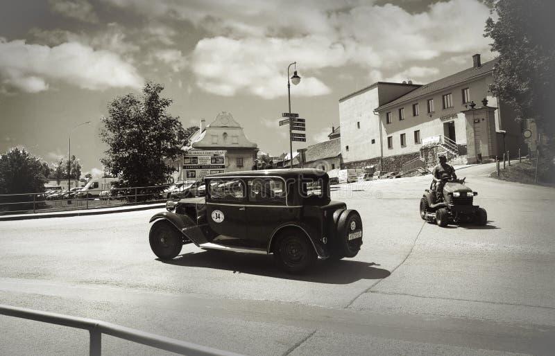 Coche del vintage en Polna, República Checa imagen de archivo libre de regalías
