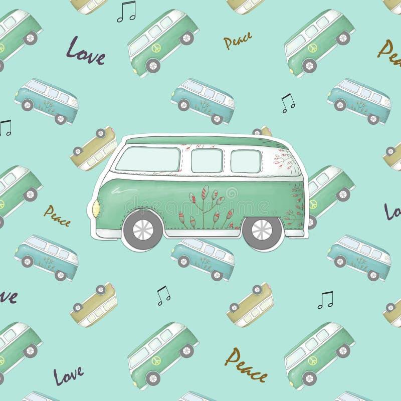 Coche del vintage del hippie un mini amor y música del fondo de van Ornate con el fondo a mano y las texturas del garabato de las ilustración del vector