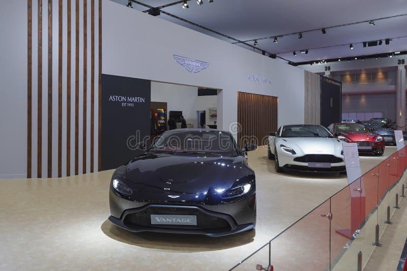 Coche deportivo de lujo de Aston Martin en la exhibición en el salón del automóvil 2019 foto de archivo libre de regalías