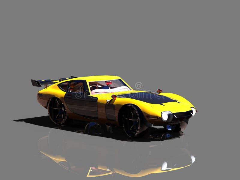 Coche deportivo estupendo en el fondo gris, ejemplo 3D stock de ilustración