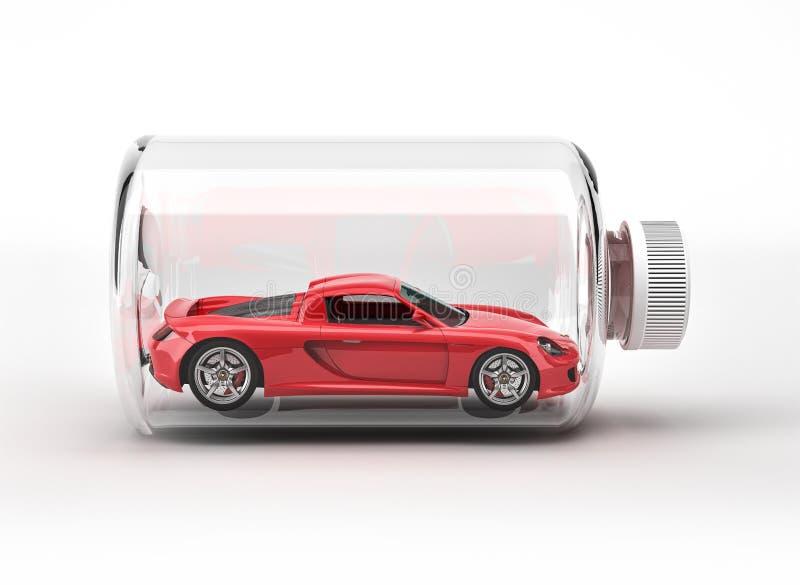 Coche deportivo rojo cerrado dentro de una botella. fotografía de archivo libre de regalías