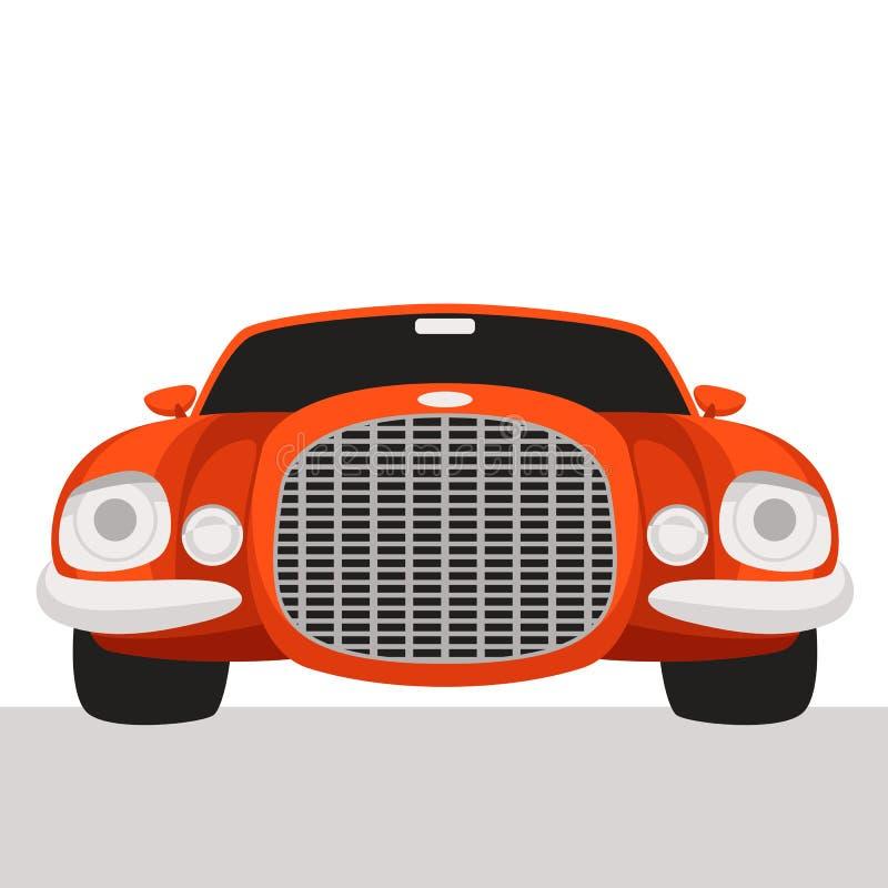 Coche deportivo rojo, ejemplo del vector, estilo plano, frente libre illustration
