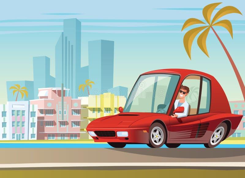 Coche deportivo rojo en la impulsión del océano en Miami stock de ilustración