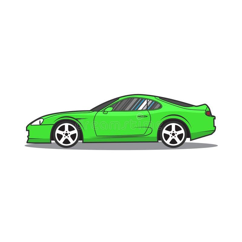 Coche deportivo verde de Japón del vector Vista lateral ilustración del vector