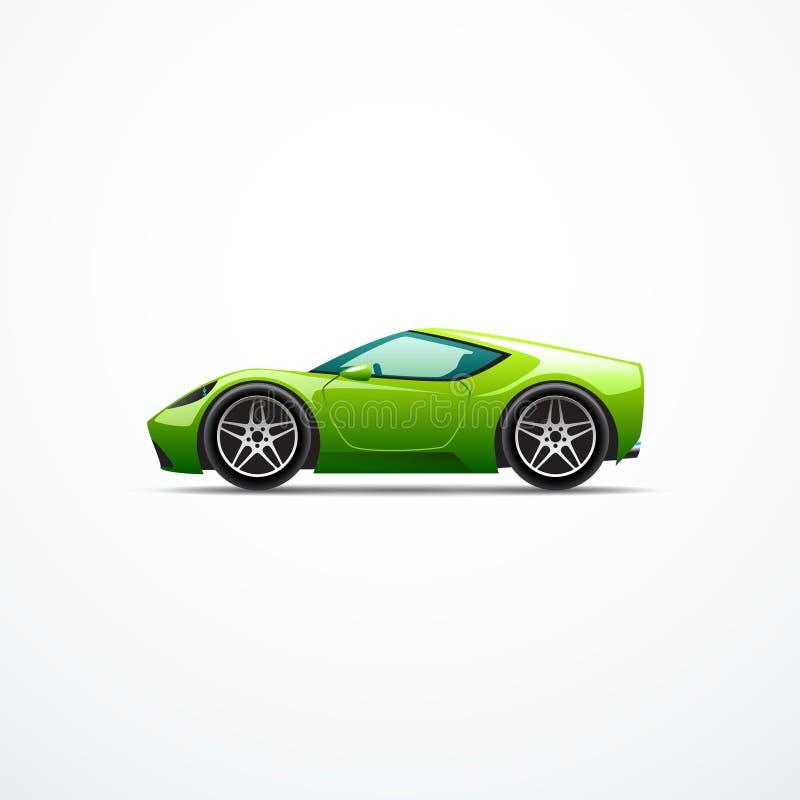 Coche deportivo verde de la historieta del vector Vista lateral ilustración del vector