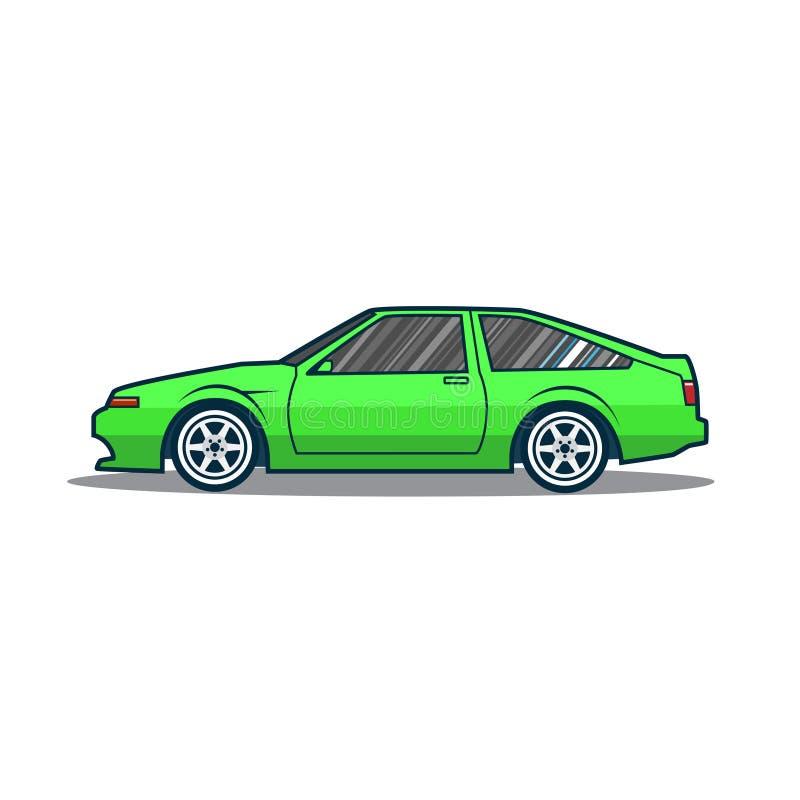 Coche deportivo viejo de Japón del vector Coche verde de la historieta Vista lateral stock de ilustración